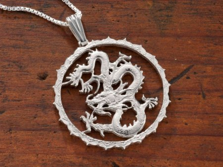 """Sterling Silver Dragon Pendant, Hand Cut Sierra Leone One Dollar Dragon Coin, Mythical Jewelry, 1 1/4"""" in Diameter, ( # 706S )"""