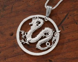 "Sterling Silver Dragon Pendant, Hand Cut Somalia Five Dollar Dragon Coin, Mythical Dragon Jewelry, 1 1/4"" in Diameter, ( # 708S )"