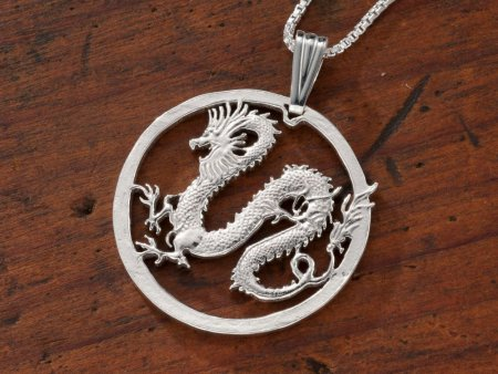 """Sterling Silver Dragon Pendant, Hand Cut Somalia Five Dollar Dragon Coin, Mythical Dragon Jewelry, 1 1/4"""" in Diameter, ( # 708S )"""