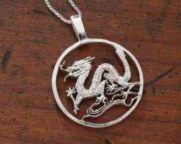 "Sterling Silver Dragon Pendant, Hand Cut Sterling Silver Dragon, Mythical Jewelry, 1 3/8"" in Diameter, ( # 486S )"