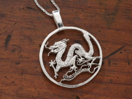 """Sterling Silver Dragon Pendant, Hand Cut Sterling Silver Dragon, Mythical Jewelry, 1 3/8"""" in Diameter, ( # 486S )"""