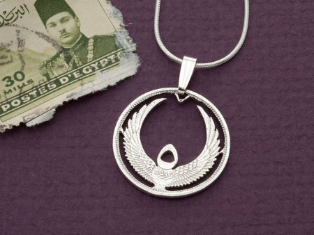 """Sterling Silver Egyptian Coin, Silver Wings of Life Pendant, Egyptian Jewelry, Egyptology Jewelry, 1"""" in Diameter, ( # 873S )"""