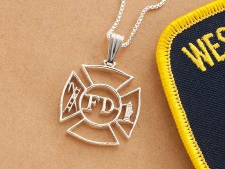 "Sterling Silver Firefighter Pendant, Silver Firemen Pendant, Firefighter Jewelry, Maltese Cross Pendant, 1 1/8"" diameter, ( # 630S )"