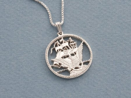 """Sterling Silver Navy Pendant, Hand cut Navy challenge coin, Military Jewelry, 1"""" in diameter, ( # 755S )"""