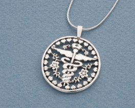 "Sterling Silver Nurses Emblem Pendant, Hand cut Nurses emblem medallion, Srerling Silver Nurses Pendant, 1 1/8"" in diameter, ( # 761S )"