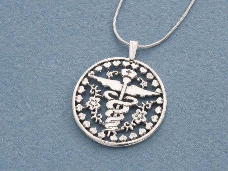 "Sterling Silver Nurses Emblem Pendant, Hand cut Nurses emblem medallion, Srerling Silver Nurses Pendant, 1 1/8"" in diameter, ( # 761S )"