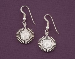 "Sterling Silver Sun Earrings, Silver Sunface Earrings, Astrological Jewelry, Sterling Silver Earrings , 3/4"" diameter ( # 2ES )"