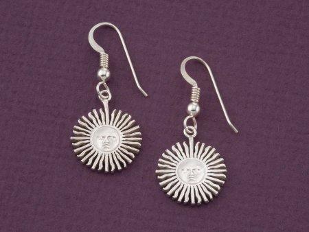 """Sterling Silver Sun Earrings, Silver Sunface Earrings, Astrological Jewelry, Sterling Silver Earrings , 3/4"""" diameter ( # 2ES )"""