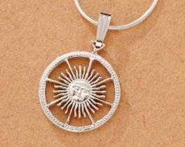 "Sterling Silver Sun Pendant, Hand Cut Argentina Peso Sun Coin, Mythical Jewelry, 5/8"" in Diameter, ( # 593BS )"