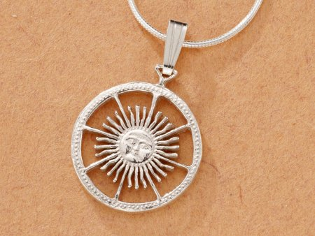 """Sterling Silver Sun Pendant, Hand Cut Argentina Peso Sun Coin, Mythical Jewelry, 5/8"""" in Diameter, ( # 593BS )"""