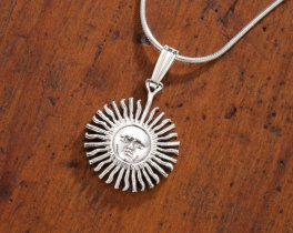 "Sterling Silver Sun Pendant, Hand Cut Sterling Silver Argentina Sun Coin, 5/8"" in dimater( # 2S )"