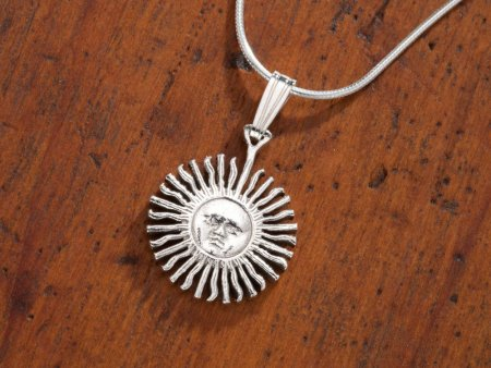 """Sterling Silver Sun Pendant, Hand Cut Sterling Silver Argentina Sun Coin, 5/8"""" in dimater( # 2S )"""