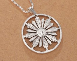 "Sterling Silver Sun Pendant, Hand Cut Uruquay four Centisimos Coin, Mythical Sun Jewelry, 1"" in Diameter, ( # 584S )"