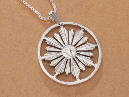 """Sterling Silver Sun Pendant, Hand Cut Uruquay four Centisimos Coin, Mythical Sun Jewelry, 1"""" in Diameter, ( # 584S )"""