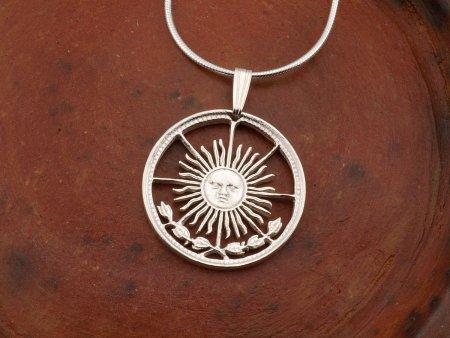 "Sterling Silver Sun Pendant, Silver Sun Face Jewelry, Sterling Silver Sun Jewelry, Silver Celestial Jewelry, 7/8"" Diameter, ( # 4S )"