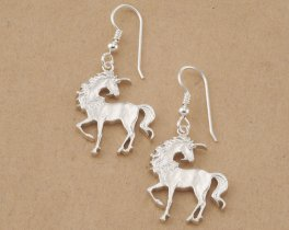 "Sterling Silver Unicorn Earrings, Silver Unicorn Jewelry, Sterling Silver Mythical Jewelry, Chinese Coin Jewelry, 1"" diameter , ( # 484BES )"
