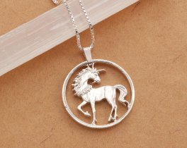 "Sterling Silver Unicorn Pendant, Hand cut Chinese Unicorn Coin pendant, Silver Unicorn Jewelry, Mthical Jewelry, 1"" in diameter, ( # 484S )"