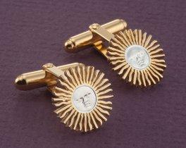 """Sun Face Cufflinks, Sun Cufflinks, Mens Cufflinks, Astrological Cufflinks, World Coin Jewelry, 3/4"""" diameter, ( # 2C )"""