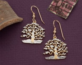"""Tree Of Life Earrings, South Pacific Island of Niue Coin Hand Cut, 14 Karat Gold and Rhodium PLated, 7/8"""" in Diameter, ( # 646BE )"""