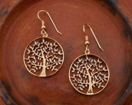 """Tree Of Life Earrings,Hand Cut Tree Of Life earrings,14 Karat Gold and Rhodium Plated,1"""" in Diameter, 14 K Gold Filled Ear Wires  ( # 912E )"""