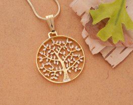 "Tree of Life Pendant & Necklace, Hand Cut Medallion, 14 Karat Gold and Rhodium Plated, 1"" Diameter, ( # 912 )"