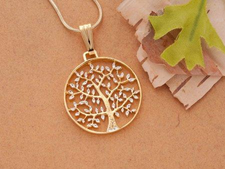 "Tree of Life Pendant & Necklace, Hand Cut Medallion, 14 Karat Gold and Rhodium Plated, 1"" Diameter, ( # 912 )"