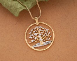 Tree Of Life Pendant & Necklace, Hand Cut from a coin in the South Pacific. ( # 646 )