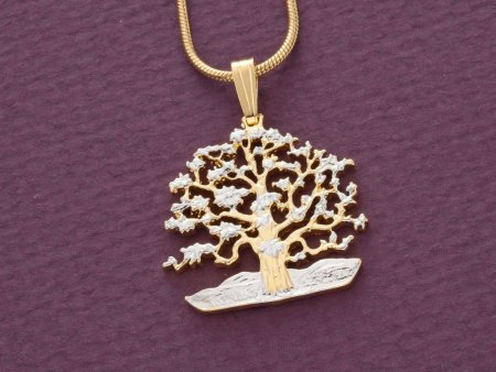 Tree of Life Pendant & Necklace, Hand Cut South Pacific Coin, Tree Of Life Jewelry, Oak Tree Necklace, Jewelry For Woman ( # 646B )