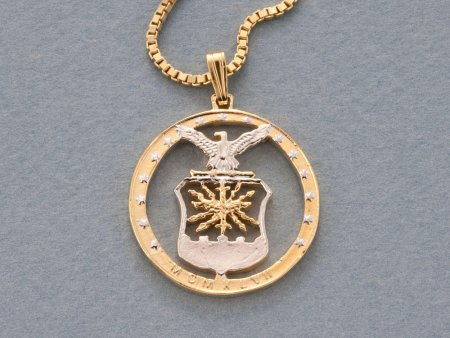 """US Airforce Pendant and Necklace Jewelry, Air Force Challenge Coin hand Cut, 14 Karat Gold and Rhodium Plated, 1"""" In Diameter, ( # 754 )"""