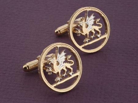 Welsh Dragon Cuff Links, Welsh Dragon Jewelry, Welsh Coin Jewelry, Mens Cuff Links, Mens Accessories, Mens Jewelry, Cuff Links, ( # 483C )