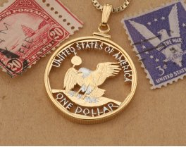 "Aberican Bald Eagle Pendant, United States Coin Jewelry, Eagle Pendant, Eagle Necklace, 1 1/8"" diameter, ( # SBBW )"