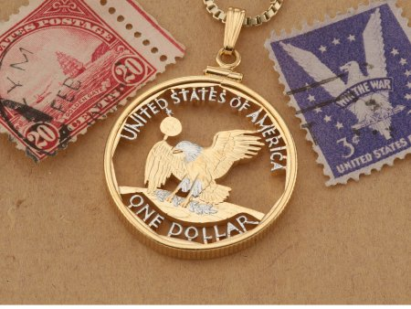 "Aberican Bald Eagle Pendant, United States Coin Jewelry, Eagle Pendant, Eagle Necklace, 1 1/8"" diameter, ( # SBBW )"
