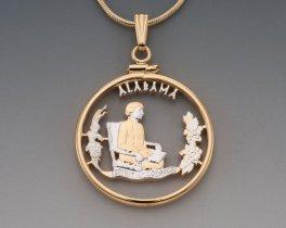"Alabama State Quarter Pendant, Hand Cut United States Alabama Quarter, 14 Karat Gold and Rhodium Plated, 1"" in Diameter, ( # 2022 )"