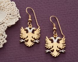 Albanian Eagle Earrings, Albanian Jewelry, Albanian coin Jewelry, Womans Earrings, Albanian Gifts, Coin Earrings, Coin Jewelry, ( # 929BE )