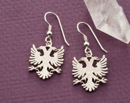 Albanian Eagle Earrings, Silver Albanian Jewelry, Albanian Coin Jewelry, Eagle Earrings, Earrings for Woman, Coin Jewelry, ( # 929BES )