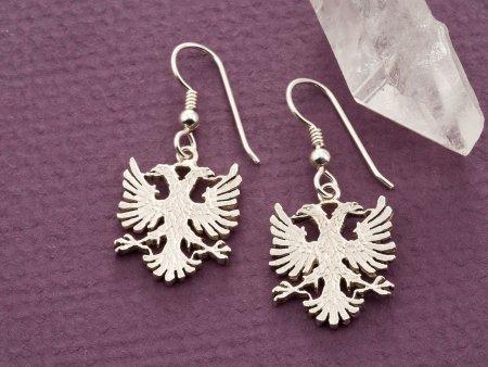 Albanian Eagle Earrings, Silver Albanian Jewelry, Albanian Coin Jewelry, Eagle Earrings, Earrings for Woman, Coin Jewelry, ( # 929BES )
