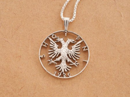 "Albanian Eagle Pendant and Necklace, Hand cut Albanian Coin, 1"" in Diameter, ( # 1S )"