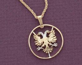 "Albanian Eagle Pendant, Hand Cut Albanian Coin, Albanian Jewelry, 7/8 "" in Diameter, ( # 940 )"