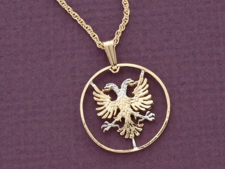 "Albanian Eagle Pendant, Hand Cut Albanian Coin, Albanian Jewelry, 7/8 "" in Diameter, ( # 940 )"