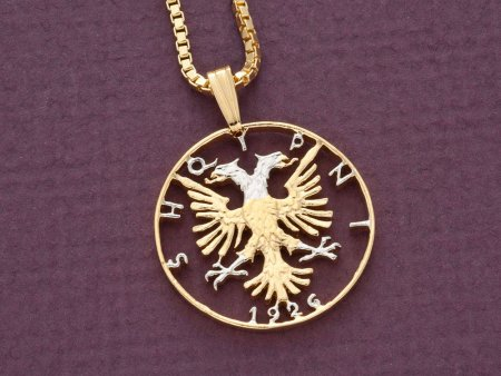 Albanian Pendant Necklace, Albanian Coin Jewelry, Albanian Jewelry, Albanian Eagle Necklace, Ethnic Jewelry, Hand Cut Coin,  ( # 1 )