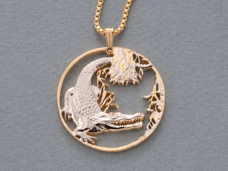 "Alligator Pendant and Necklace, Alligator Medallion Hand Cut, 14 Karat Gold and Rhodium Plated, 1 1/8"" in Diameter, ( # 932 )"