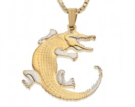 "Alligator Pendant and Necklace, Gambia Gator Coin Hand Cut, 14 Karat Gold and Rhodium Plated, 1"" in Diameter, ( # 878 )"