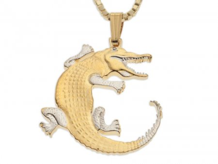 """Alligator Pendant and Necklace, Gambia Gator Coin Hand Cut, 14 Karat Gold and Rhodium Plated, 1"""" in Diameter, ( # 878 )"""