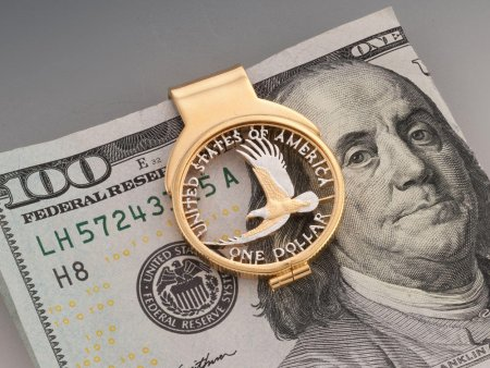 "American Bald Eagle Money Clip, United States Golden Dollar Money Clip, American Coin Jewelry, Money Clips 1 1/8"" in Diameter, (# 2000WM )"