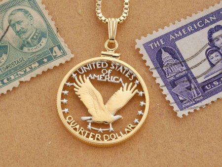American Bald Eagle Pendant and Necklace, Hand Cut American Eagle Quarter, Bald Eagle Jewelry, ( # 316 )