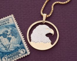 "American Bald Eagle Pendant and Necklace, Hand Cut Canada 50 Cents Coin, 14 Karat Gold and Rhodium Plated, 1 "" Diameter, ( # 736 )"