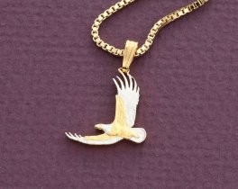"American Eagle Pendant and Necklace, Hand cut United States One Dollar coin, United States Coin Jewelry, 3/4"" in diameter, ( # 2000BN )"