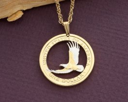 "American Eagle Pendant and Necklace, United States One Dollar hand Cut, 14 Karat Gold and Rhodium plated, 1"" in Diameter, ( # 2000B )"