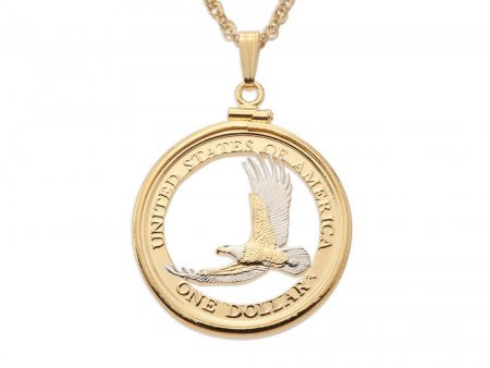 """American Eagle Pendant and Necklace, United States One Dollar hand Cut, 14 Karat Gold and Rhodium plated, 1"""" in Diameter, ( # 2000B )"""
