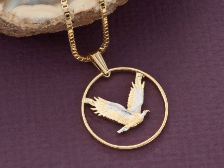 "American Eagle Pendant and Necklace, United States Quarter Hand Cut, 14 K arat Gold and Rhodium PLated, 1"" in Diameter, ( # 314 )"